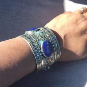 Egyptian silver blue stone bracelet